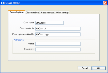 Free c and c code generator tool free uml class diagram drawing classoptionsdialog general page ccuart Image collections